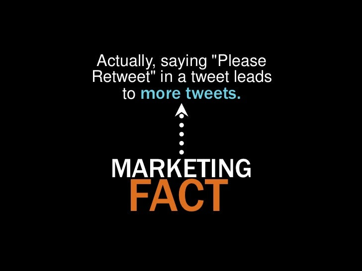 """Actually, saying """"PleaseRetweet"""" in a tweet leads    to more tweets.  MARKETING    FACT"""