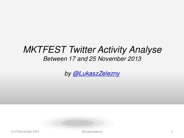 MKTFEST Twitter Activity Analyse Between 17 and 25 November 2013 by @LukaszZelezny  22-23 November 2013  @LukaszZelezny  1