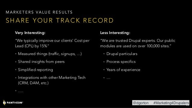 """Very Interesting: """"We typically improve our clients' Cost per Lead (CPL) by 15%"""" • Measured things (traffic, signups, …) •..."""
