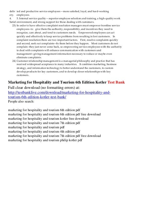 Marketing for hospitality and tourism 6th edition kotler test bank value creation and service 6 deliv fandeluxe Gallery