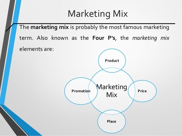 Marketing Mix The marketing mix is probably the most famous marketing term. Also known as the Four P's, the marketing mix ...