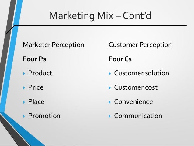 Marketing Mix – Cont'd Marketer Perception Four Ps  Product  Price  Place  Promotion Customer Perception Four Cs  Cus...