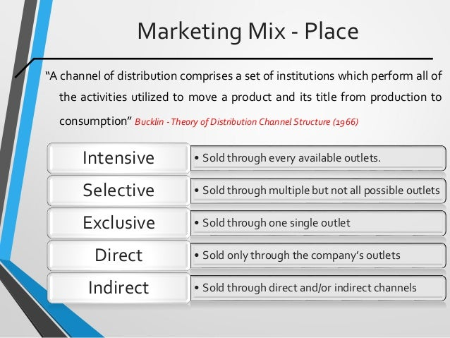 """Marketing Mix - Place """"A channel of distribution comprises a set of institutions which perform all of the activities utili..."""