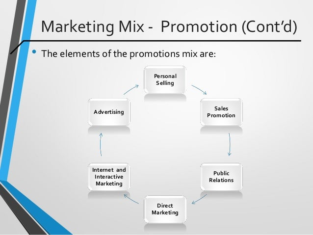 Marketing Mix - Promotion (Cont'd) • The elements of the promotions mix are: Personal Selling Sales Promotion Public Relat...