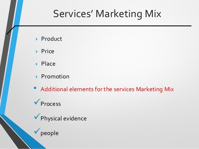 Services' Marketing Mix  Product  Price  Place  Promotion • Additional elements for the services Marketing Mix Proces...