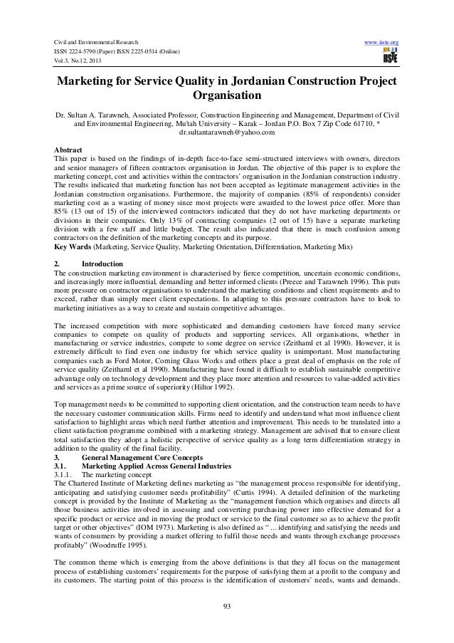 Civil and Environmental Research ISSN 2224-5790 (Paper) ISSN 2225-0514 (Online) Vol.3, No.12, 2013  www.iiste.org  Marketi...