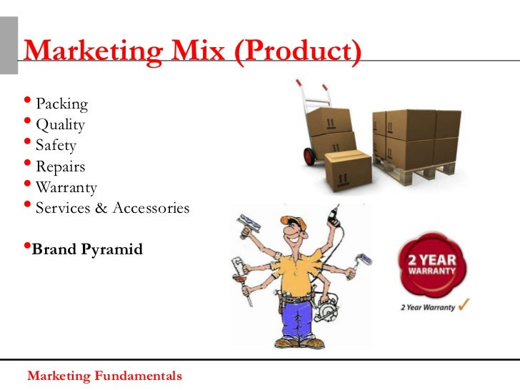 Marketing Mix (Product)• Packing• Quality• Safety• Repairs• Warranty• Services & Accessories•Brand PyramidMarketing Fundam...