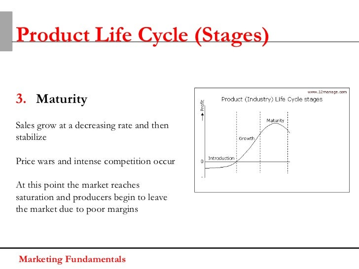 Product Life Cycle (Stages)3. MaturitySales grow at a decreasing rate and thenstabilizePrice wars and intense competition ...