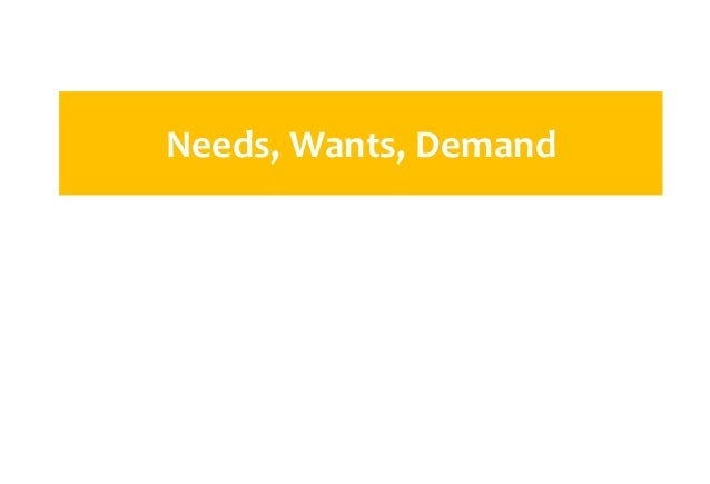 needs wants demands The marketer must try to understand the target market's needs, wants and demands needs are the basic human requirements people need food, air, water, clothing and shelter to survive.