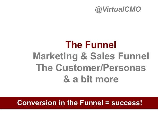 @VirtualCMO  The Funnel Marketing & Sales Funnel The Customer/Personas & a bit more Conversion in the Funnel = success!