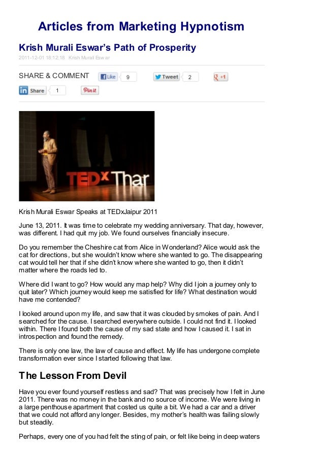 Articles from Marketing Hypnotism Krish Murali Eswar's Path of Prosperity 2011-12-01 18:12:18 Krish Murali Esw ar  SHARE &...