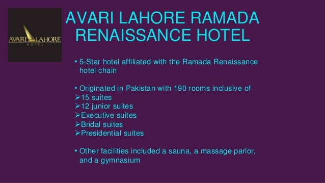 avari ramada lahore case Average room rate of avari hotel had fallen below its main competitor, pearl  hotel the assistant sales and marketing manager wants to re-evaluate the.
