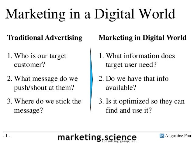 Marketing in a Digital World Traditional Advertising    Marketing in Digital World 1. Who is our target       1. What info...