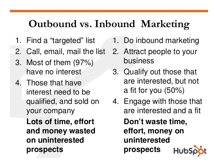 """Outbound Marketing 1. Find a """"targeted"""" list     • 10,000 people on list 2. Call, email 2 Call email, mail the list   • Ma..."""
