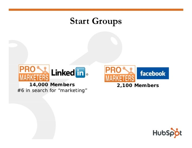 """Build a Group • Generic Title (""""Pro Marketers"""")  • Invite employees, customers and friends  • Post on your blog, website, ..."""
