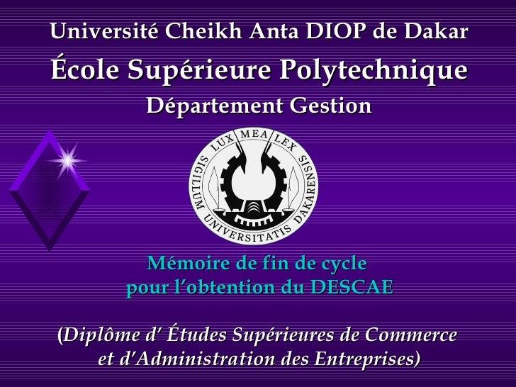 Mémoire de fin de cycle  pour l'obtention du DESCAE ( Diplôme d' Études Supérieures de Commerce  et d'Administration des E...