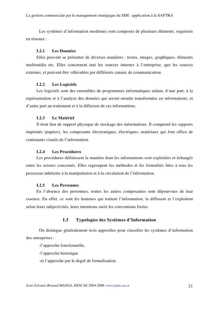 La gestion commerciale par le management stratégique du SIM : application à la SAFTRA          Les systèmes d'information ...