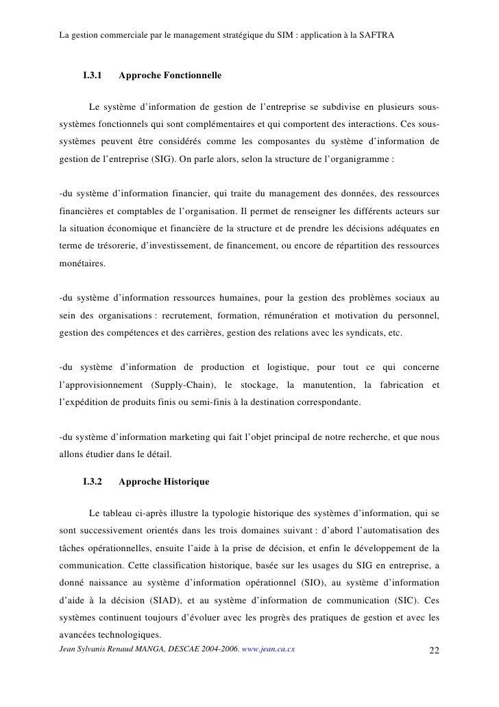 La gestion commerciale par le management stratégique du SIM : application à la SAFTRA          I.3.1    Approche Fonctionn...