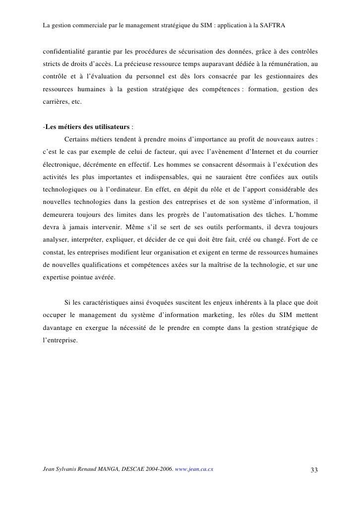 La gestion commerciale par le management stratégique du SIM : application à la SAFTRA   confidentialité garantie par les p...