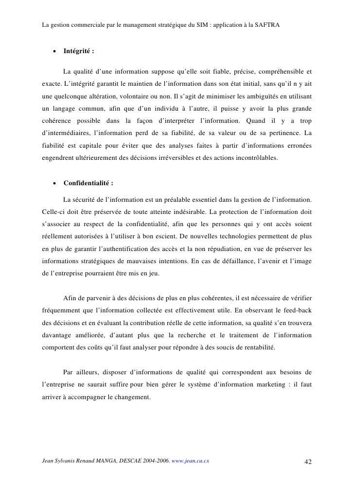 La gestion commerciale par le management stratégique du SIM : application à la SAFTRA      •   Intégrité :         La qual...