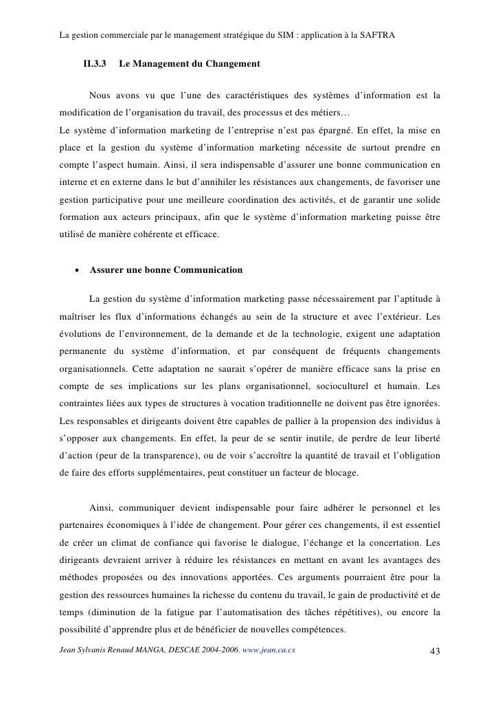 La gestion commerciale par le management stratégique du SIM : application à la SAFTRA          II.3.3   Le Management du C...