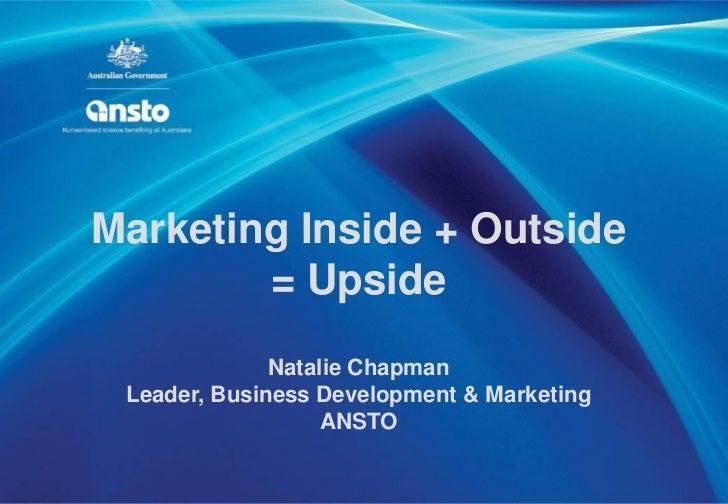 Marketing Inside + Outside        = Upside              Natalie Chapman Leader, Business Development & Marketing          ...