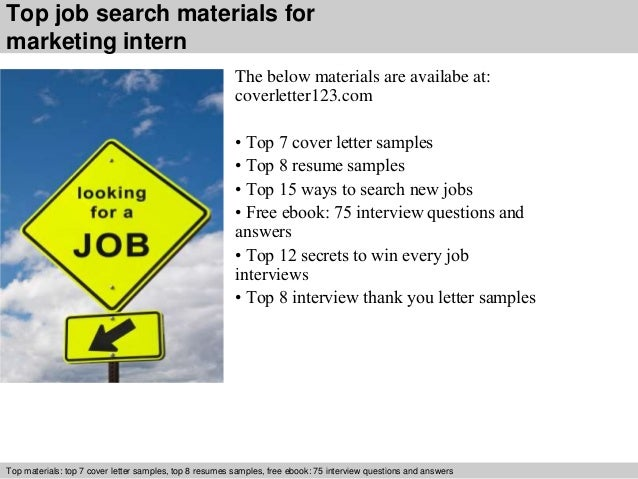 5 top job search materials for marketing intern - Cover Letter For Marketing Internship