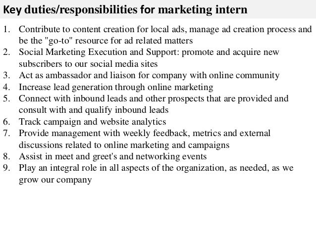Genial ... 2. Key Duties/responsibilities For Marketing Intern ...