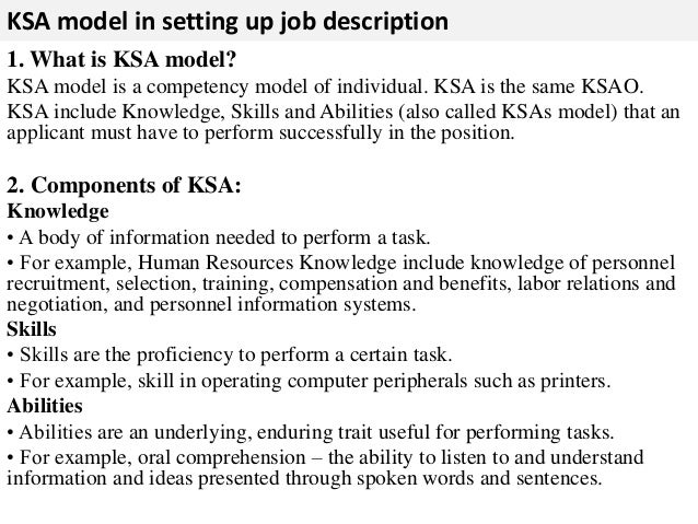... Tools And Equipments; 5. KSA Model In Setting Up Job Description ...