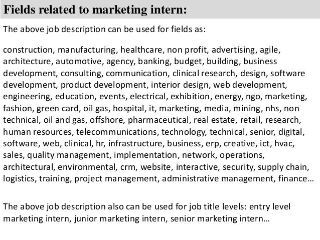 Marketing intern job description – Business Intern Job Description