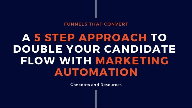 FUNNELS THAT CONVERT A 5 STEP APPROACH TO DOUBLE YOUR CANDIDATE FLOW WITH MARKETING AUTOMATION Concepts and Resources