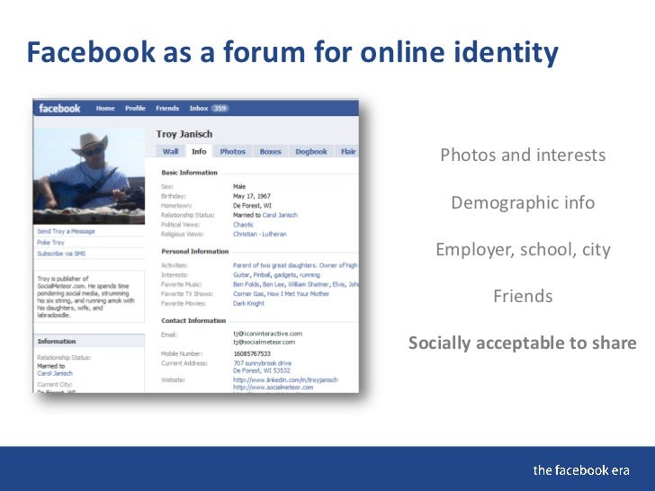 Facebook as a forum for online identity                                 Photos and interests                              ...