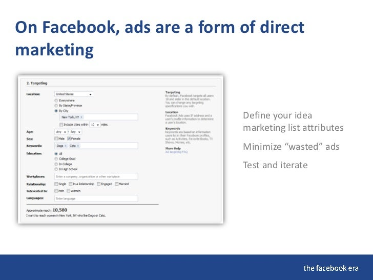 "On Facebook, ads are a form of direct marketing  "" Fifty percent of my   advertising is wasted, I   Define your idea      ..."