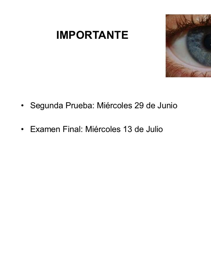 IMPORTANTE• Segunda Prueba: Miércoles 29 de Junio• Examen Final: Miércoles 13 de Julio