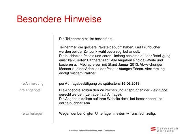AuftragsbestätigungEin Winter voller Lebensfreude. Markt Deutschland 2013/14Österreich Werbung Deutschland, Klosterstraße ...