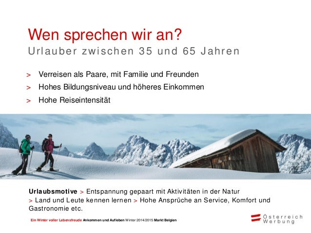 Ein Winter voller Lebensfreude Ankommen und Aufleben Winter 2014/2015 Markt Belgien Klassische Werbung 40% Online 40% Wirt...