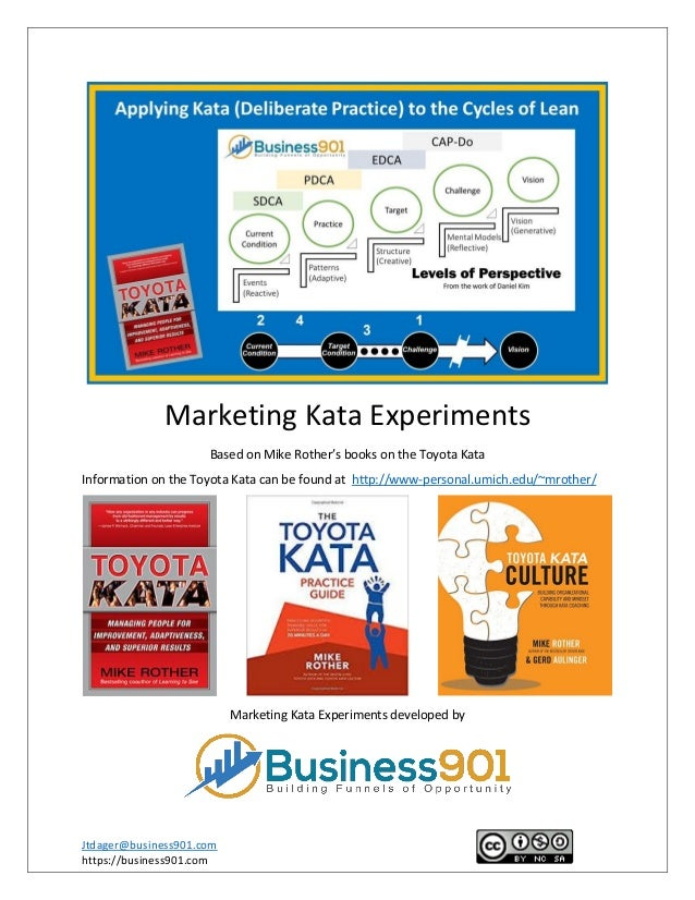 Jtdager@business901.com https://business901.com Marketing Kata Experiments Based on Mike Rother's books on the Toyota Kata...