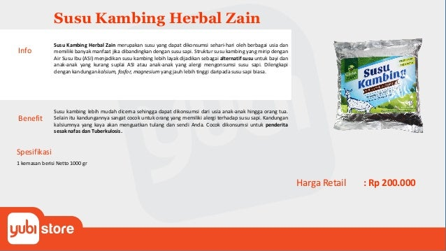 Susu Kambing Herbal Zain Benefit Susu kambing lebih mudah dicerna sehingga dapat dikonsumsi dari usia anak-anak hingga ora...