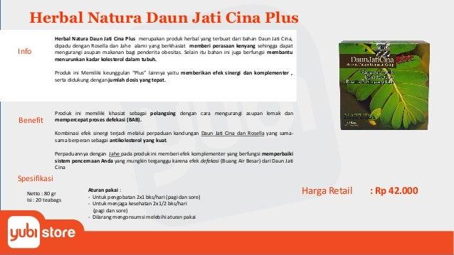 Herbal Natura Daun Jati Cina Plus Benefit Produk ini memiliki khasiat sebagai pelangsing dengan cara mengurangi asupan lem...