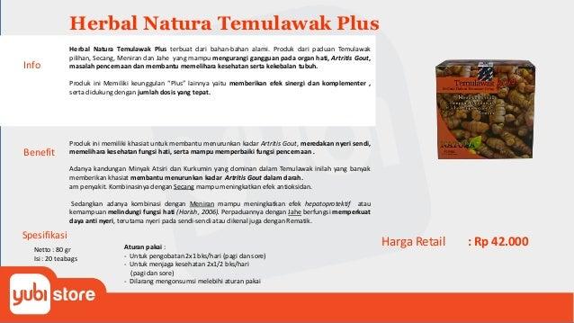 Herbal Natura Temulawak Plus Benefit Produk ini memiliki khasiat untuk membantu menurunkan kadar Artritis Gout, meredakan ...