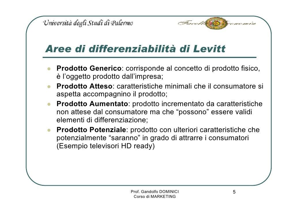 Aree di differenziabilità di Levitt   Prodotto Generico: corrisponde al concetto di prodotto fisico,   è l'oggetto prodott...