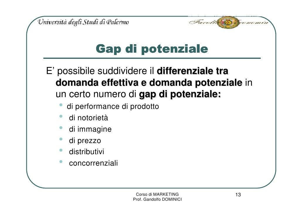 Gap di potenziale E' possibile suddividere il differenziale tra   domanda effettiva e domanda potenziale in   un certo num...