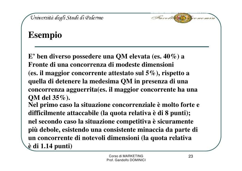 Esempio  E' ben diverso possedere una QM elevata (es. 40%) a Fronte di una concorrenza di modeste dimensioni (es. il maggi...