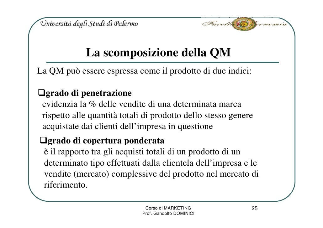La scomposizione della QM La QM può essere espressa come il prodotto di due indici:    grado di penetrazione  evidenzia la...