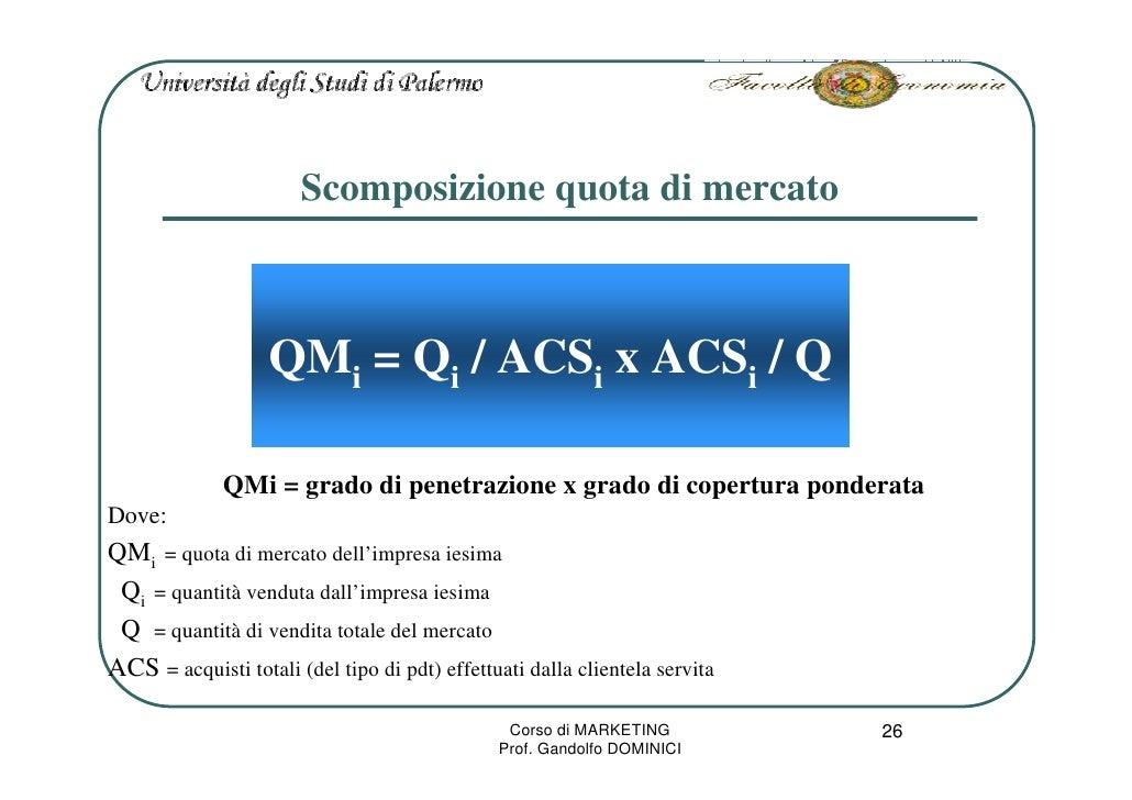 Scomposizione quota di mercato                       QMi = Qi / ACSi x ACSi / Q                QMi = grado di penetrazione...