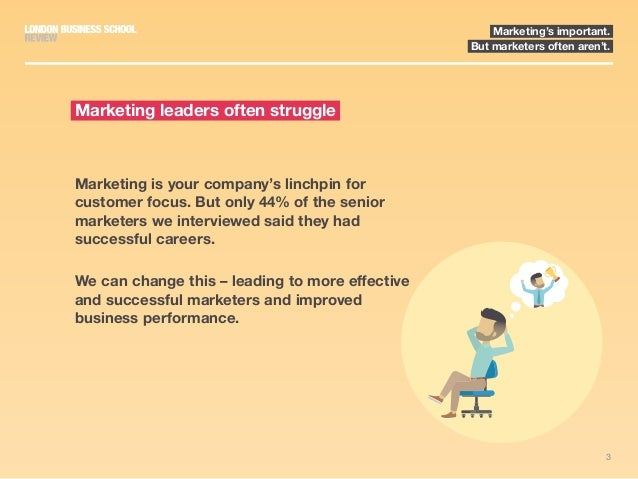 3 Marketing's important. But marketers often aren't. Marketing is your company's linchpin for customer focus. But only 44%...