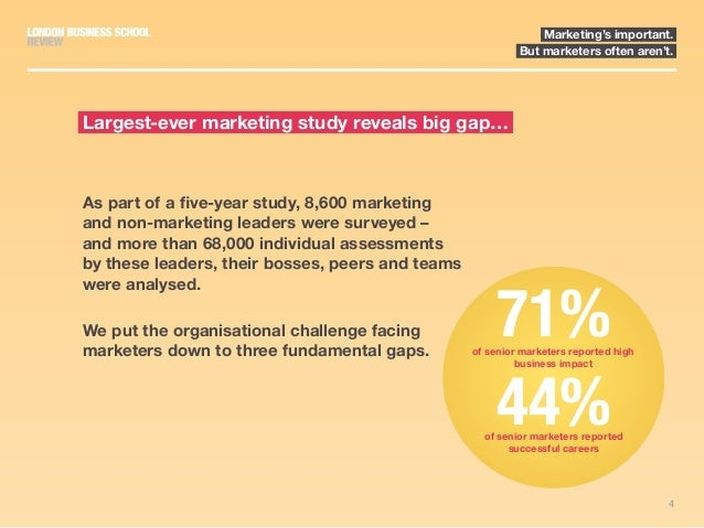 4 Marketing's important. But marketers often aren't. As part of a five-year study, 8,600 marketing and non-marketing leade...