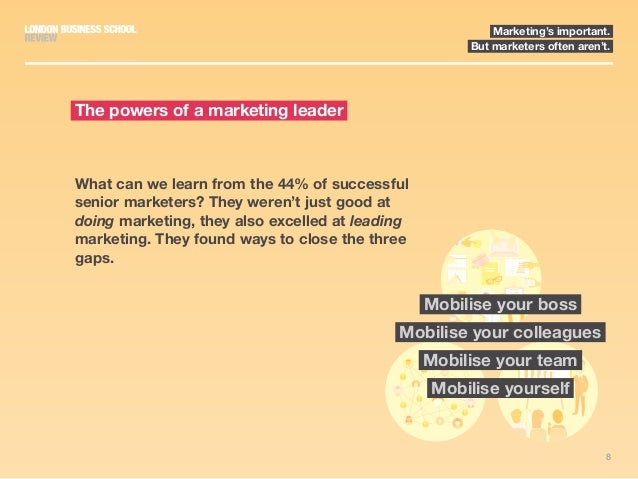8 Marketing's important. But marketers often aren't. What can we learn from the 44% of successful senior marketers? They w...