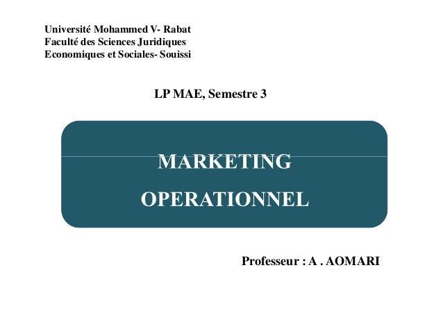 Université Mohammed V- Rabat Faculté des Sciences Juridiques Economiques et Sociales- Souissi LP MAE, Semestre 3 Professeu...