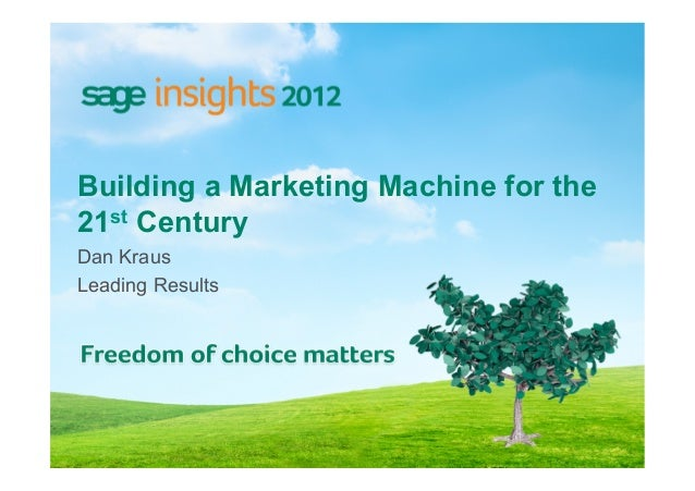 Building a Marketing Machine for the21st CenturyDan KrausLeading Results